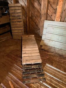 "*homebuilt wooden ramps with metal extension (10"" high, 68"" long)"