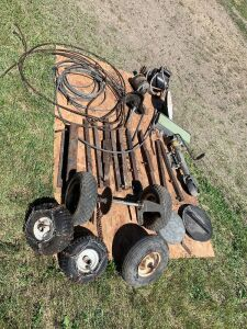 *wire cable, *bucket teeth, *electric motors (unsure if working), *sprayer tank lids, *wheel jack (LOT 2)