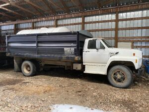*1989 Ford F-800 s/a grain truck, 397,033 showing, VIN# 1FDXK84A0KVA04805, SAFETIED