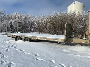 *2013 24' Saturn tandem dualled pintle hitch flat deck trailer, VIN# 2S917B322DW010011, SAFETIED